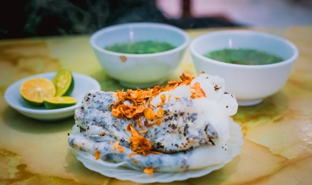 A plate of banh cuon (steamed rice pancake rolls)