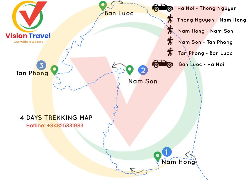 Travel map: 4 Days Trekking in Hoang Su Phi - Ha Giang - Northern Vietnam