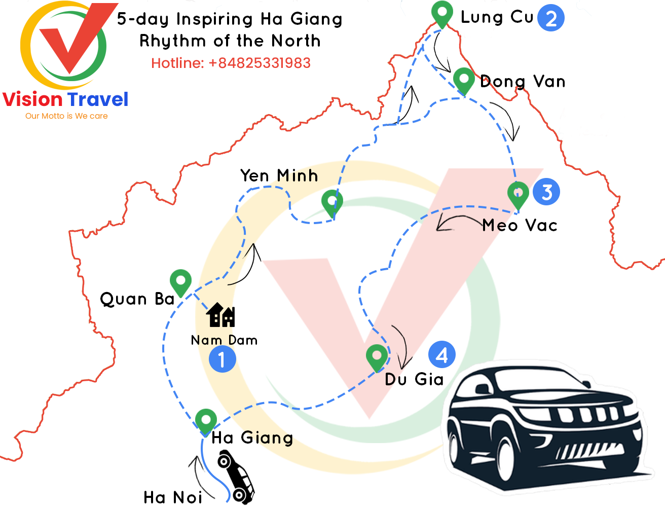Travel map: 5-day Inspiring Ha Giang – Rhythm of the North (Trekking & Market)