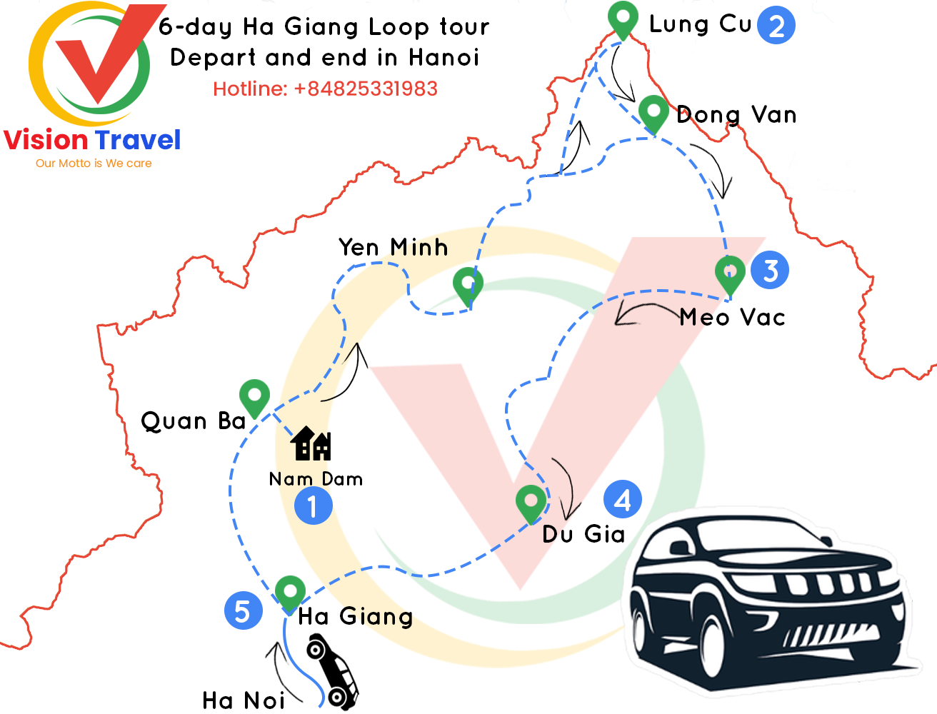 Travel map: 6-day by vehicle Captivating Ha Giang tour (Home stay, Trekking, Market)