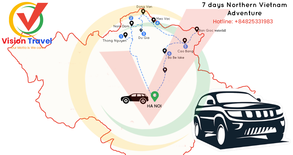 Travel map: 7-day by vehicle Ha Giang – Cao Bang, Northern Vietnam Adventure (Home stay, Trekking, Market)