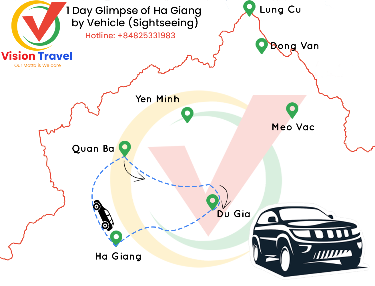 Travel map: 1 Day Glimpse of Ha Giang by Vehicle (Sightseeing)