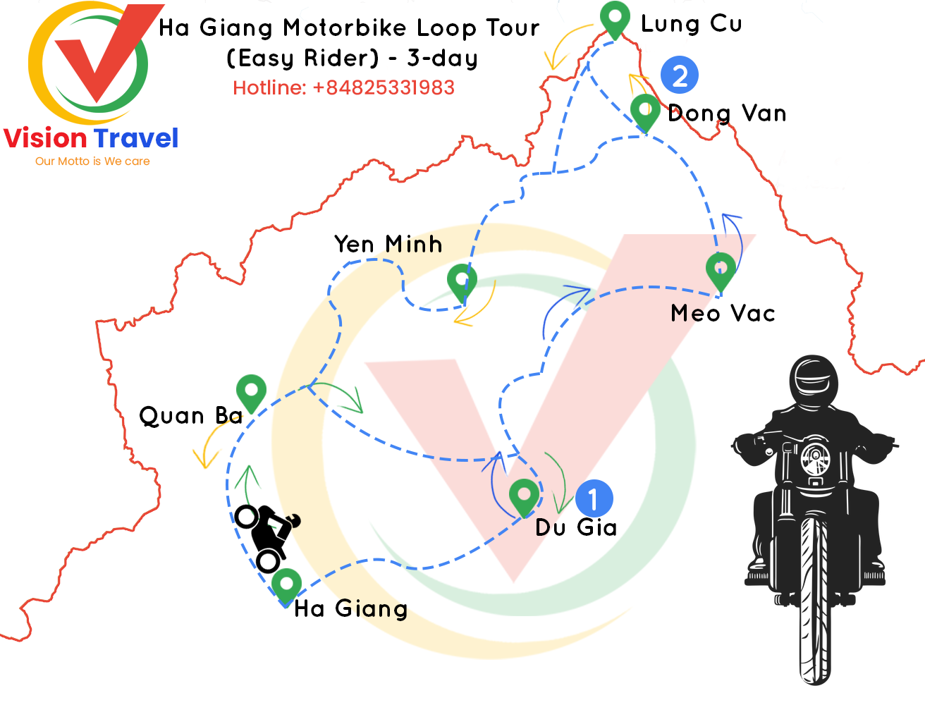 Travel map: 3-day Ha Giang Motorbike Loop Tour (Easy Rider)