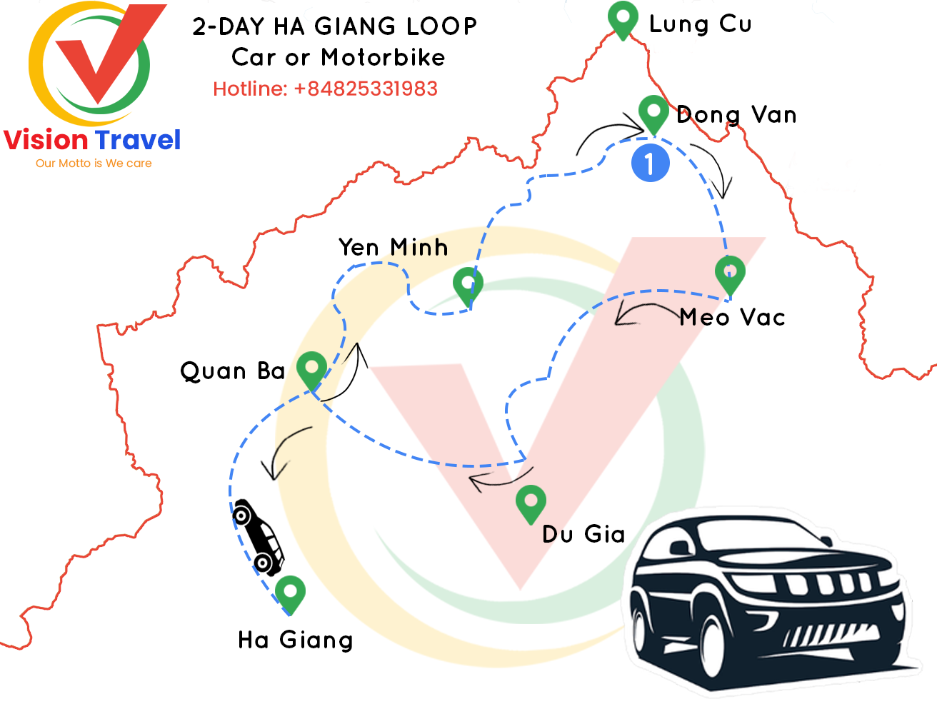 Travel map: 2-day Classic Ha Giang by Vehicle or by motorcycle (Homestay)