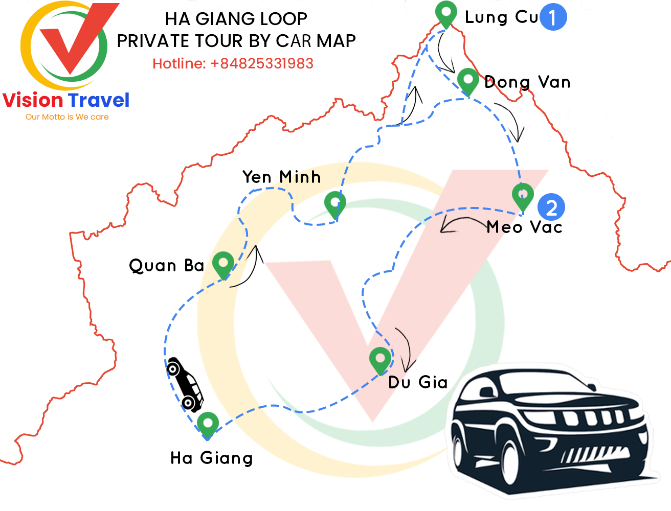 Travel map: Great 3-day Ha Giang Loop Car Tour