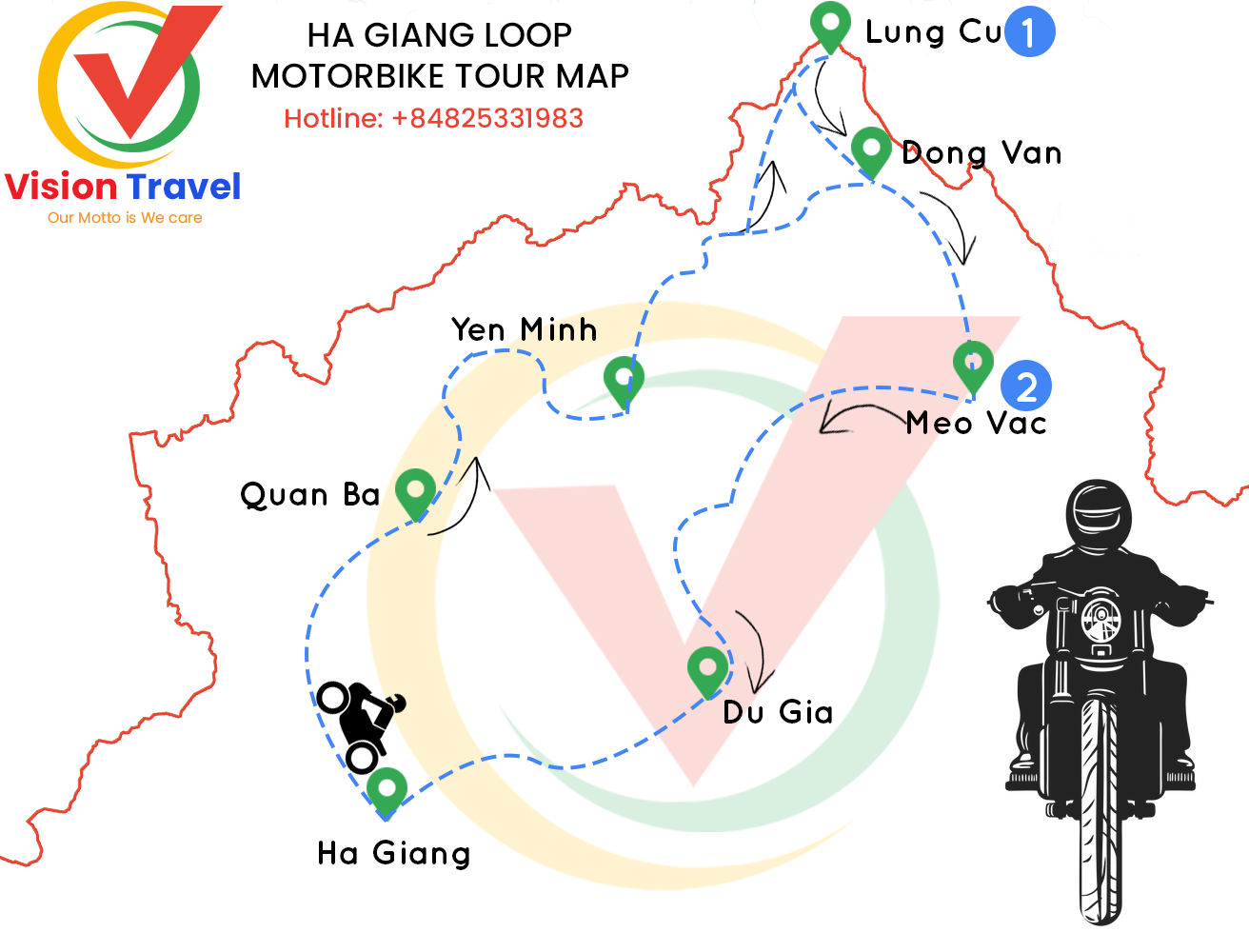 Travel map: 3-day Motorbike tour: Highlights of Ha Giang (Ha Giang Loop)